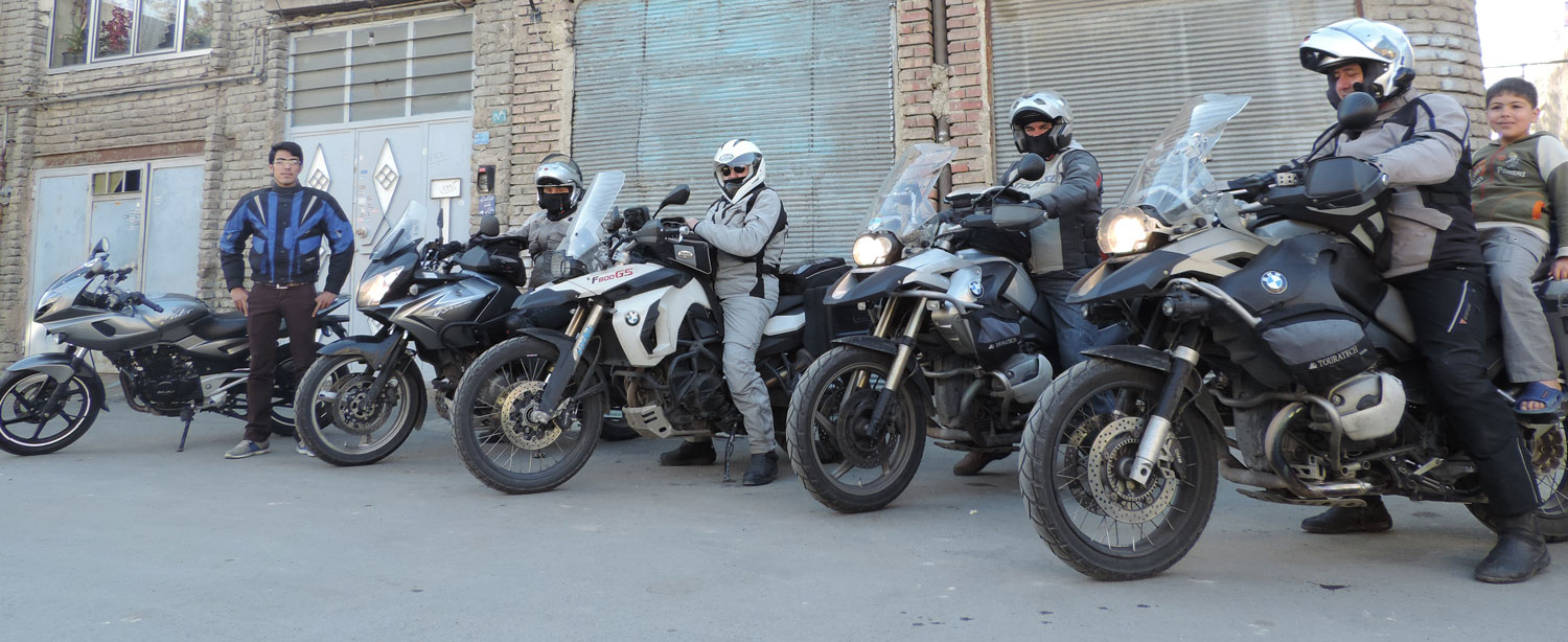 Hossein with Italian motorbikers