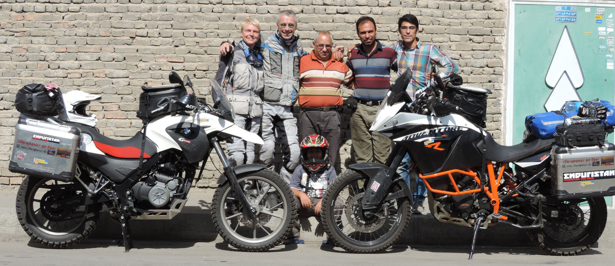 Hossein with German motorbike travelers