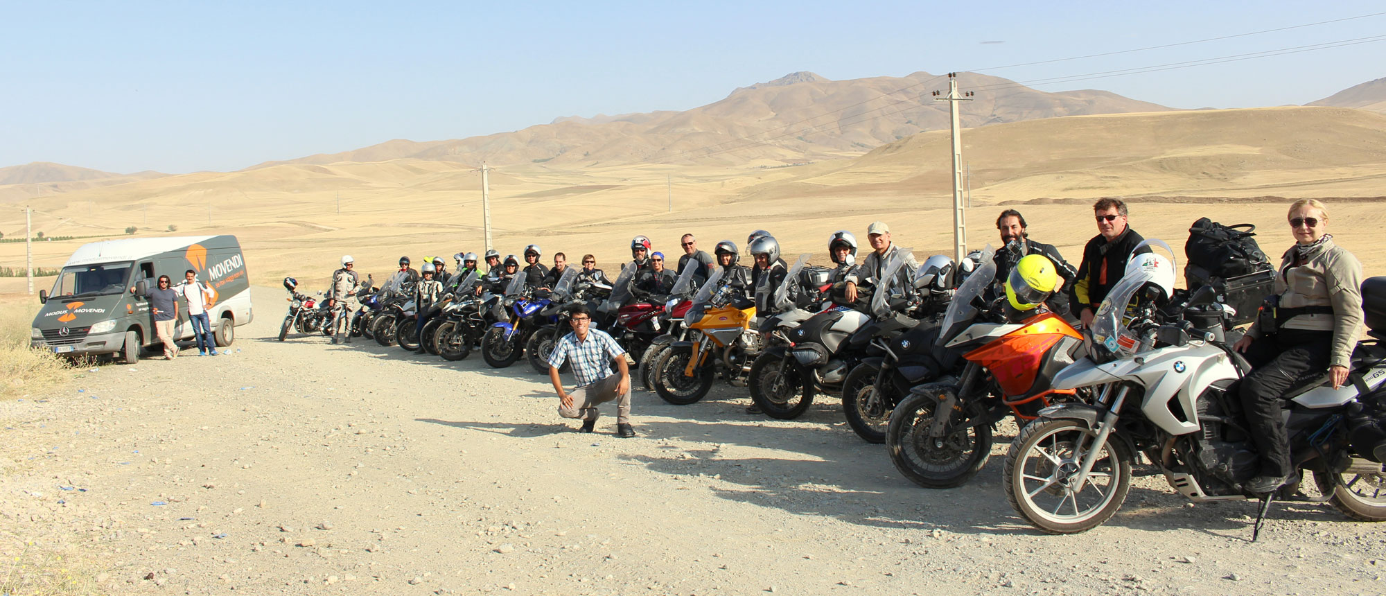 17 motorbike travelers under Hossein's leadership in Iran